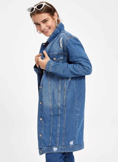 DeFacto Uzun Denim Ceket Mavi